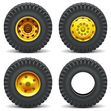 Vector Construction Machines Wheels