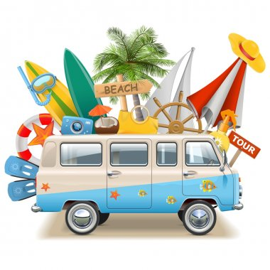 Vector Beach Concept with Bus