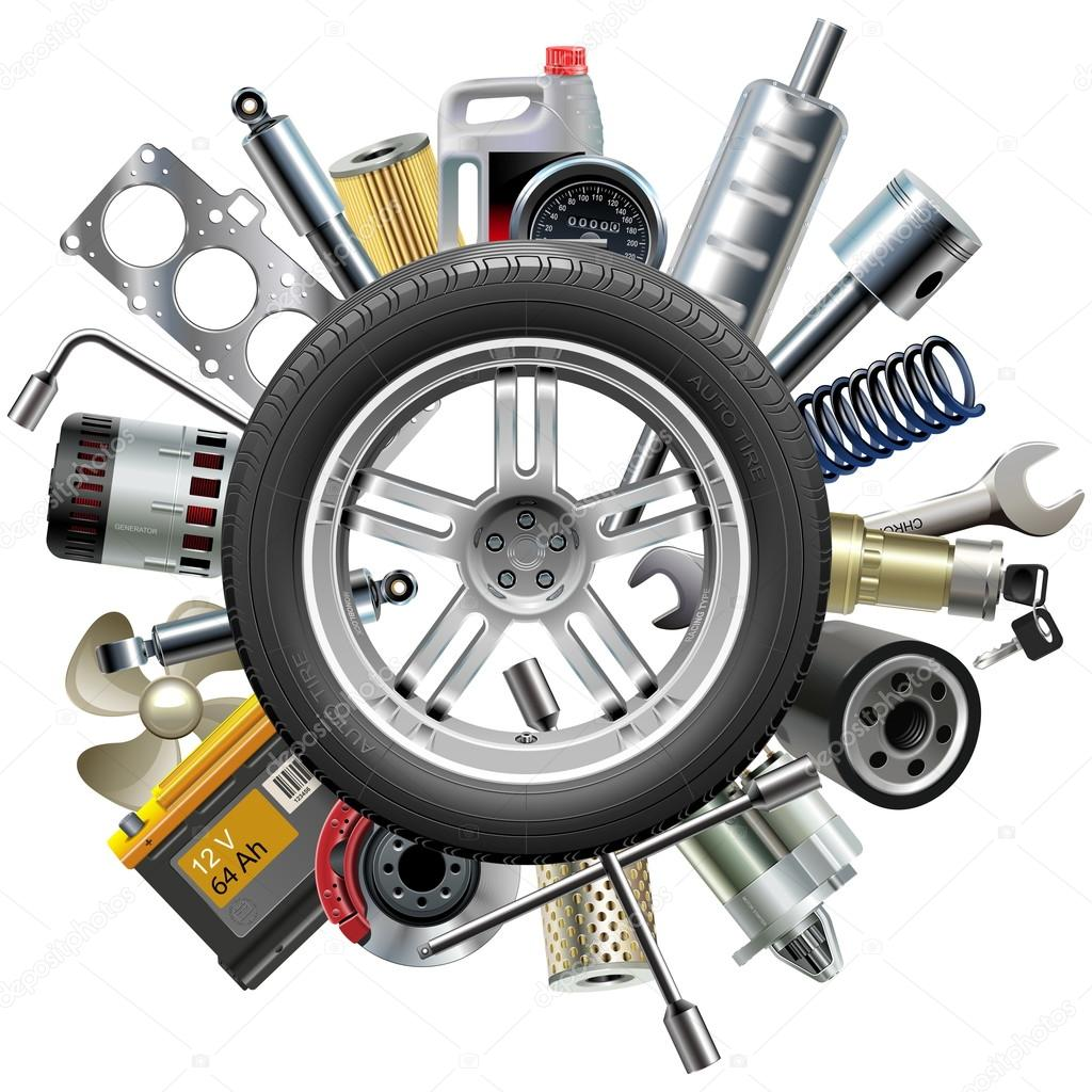 Vector Car Spares Concept with Wheel