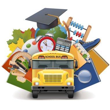 Vector School Concept with Bus
