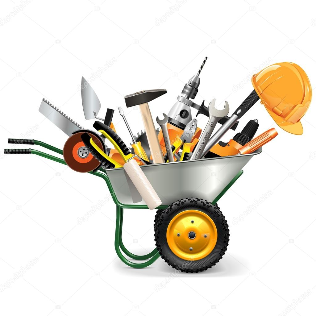 Vector Wheelbarrow with Tools