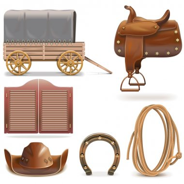 Vector Cowboy Icons Set 2