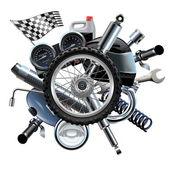 Fotografie Vektor-Motorrad-Ersatzteile mit Rad