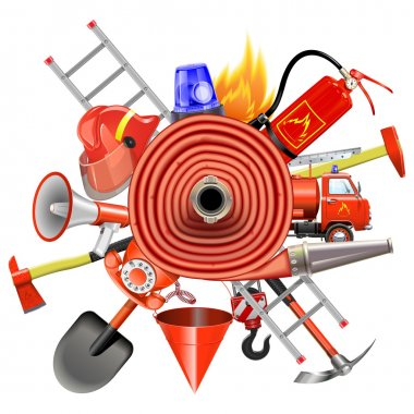 Vector Fire Prevention Concept with Firehose
