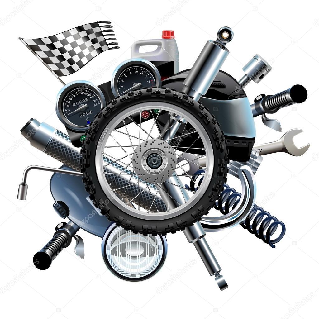 Motorcycle Parts In Delaware Mail: Vector Moto Peças Sobressalentes Com Roda