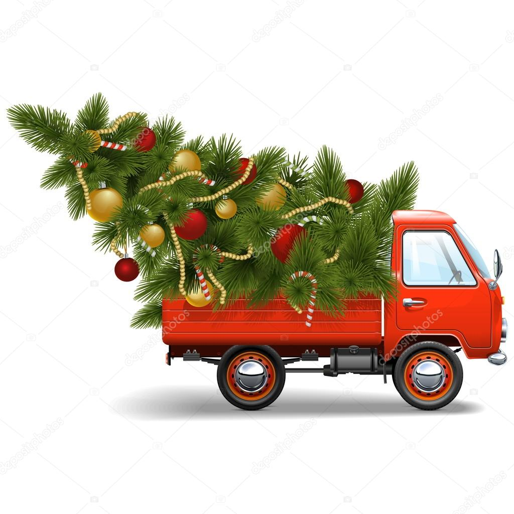 ᐈ Red Truck Christmas Stock Cliparts Royalty Free Christmas Truck Pictures Download On Depositphotos