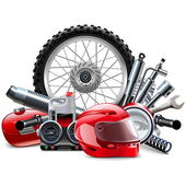 Fotografie Vektor-Motorrad-Ersatzteile-Konzept