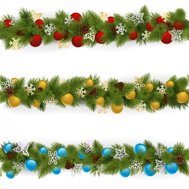 Vector Christmas Borders Set 4