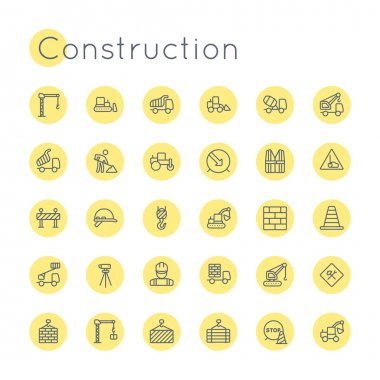 Vector Round Construction Icons
