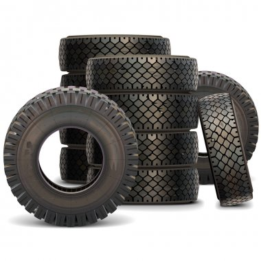 Vector Old Truck Tire Set 2