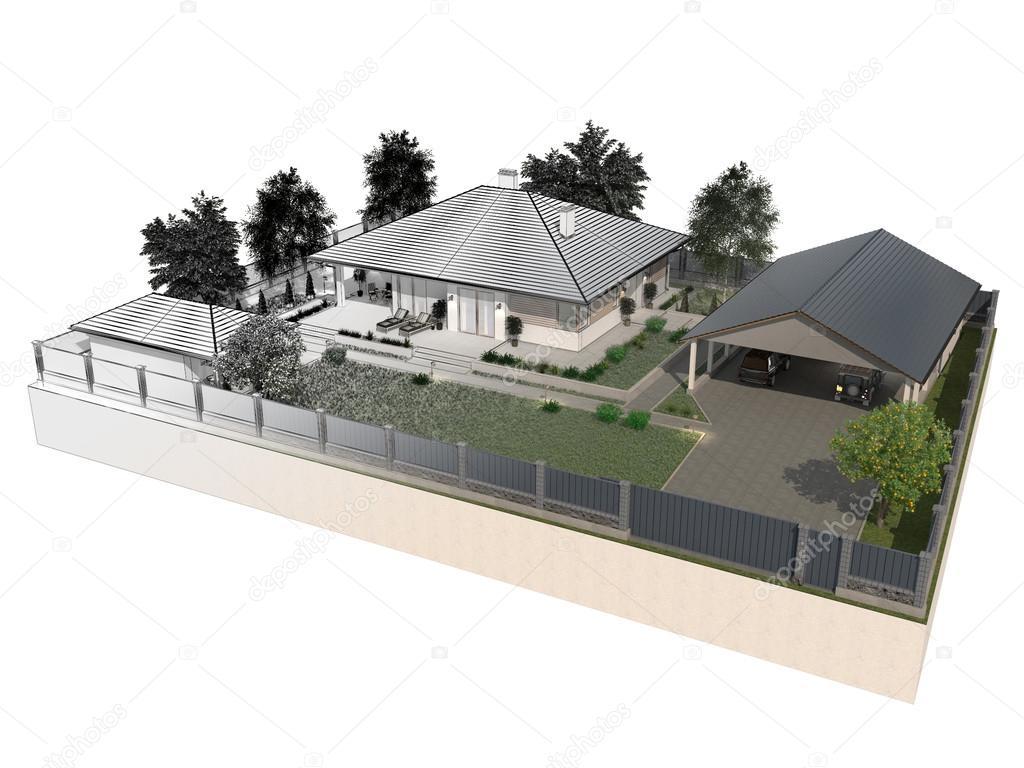 Progetto di una villa di lusso in costruzione foto stock for Progetti di ville
