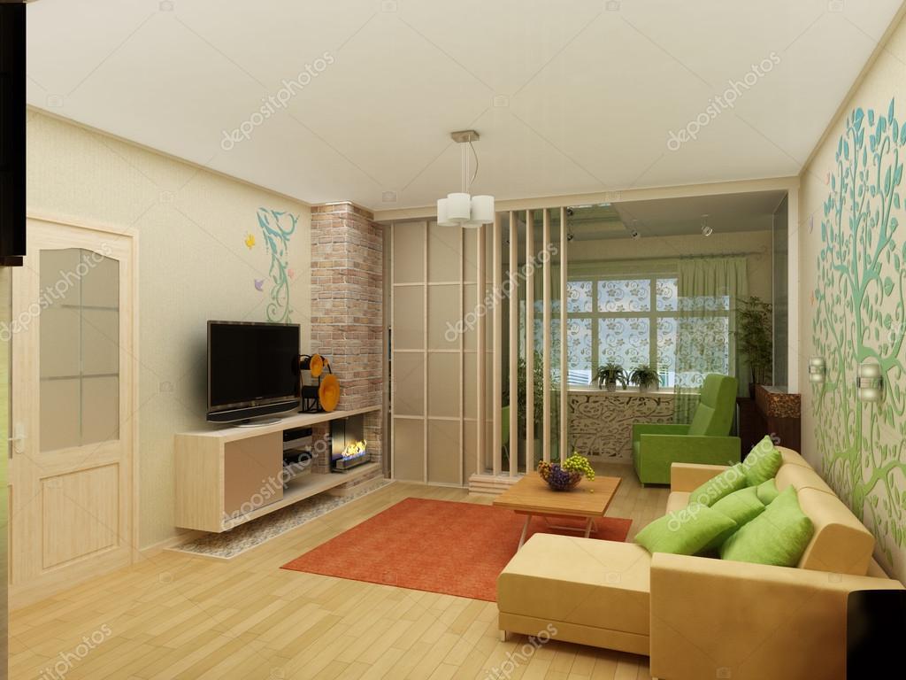 woonkamer met landschapsmening 3d interieur architectuur stockfoto