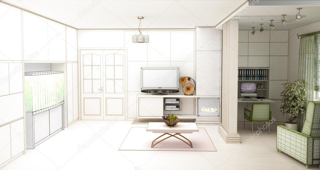 salle de sjour avec paysage dcouvre 3d architecture dintrieur image de wassiliy
