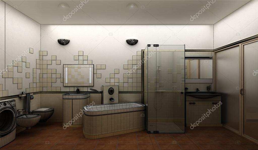 Maken van een moderne badkamer interieur design u2014 stockfoto