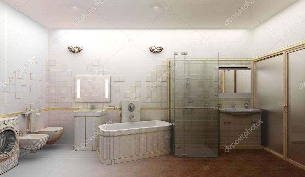 maken van een moderne badkamer interieur design — Stockfoto ...