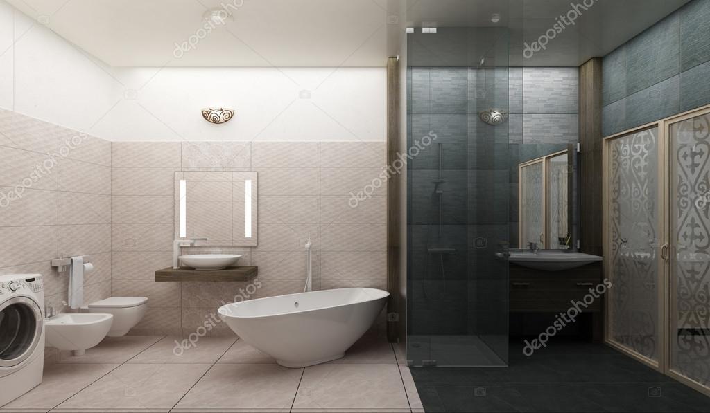 Representación 3d de un moderno cuarto de baño diseño de ...