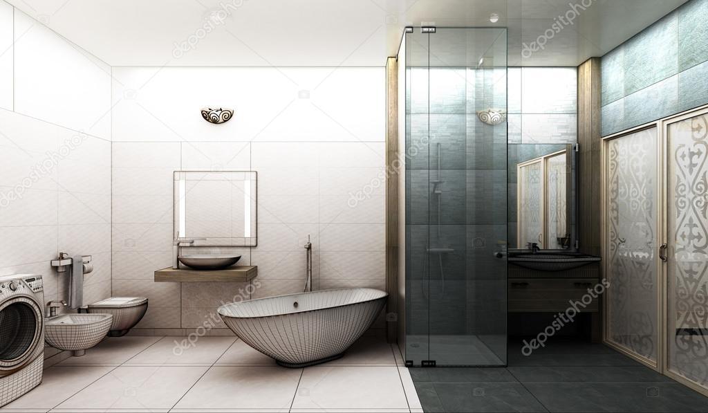 representación 3d de un moderno cuarto de baño diseño de interiores ...