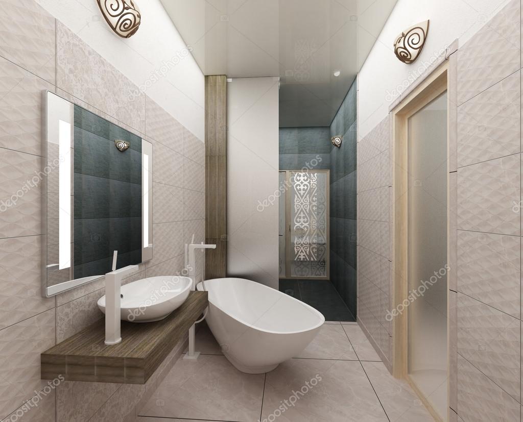 Design Bagno Moderno : Rendering d di un bagno moderno interior design u foto stock
