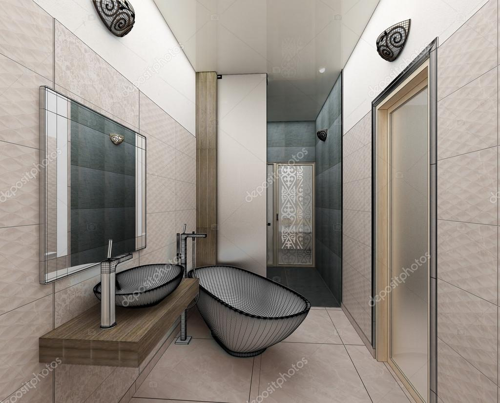 Rendering 3d van een moderne badkamer interieur design — Stockfoto ...