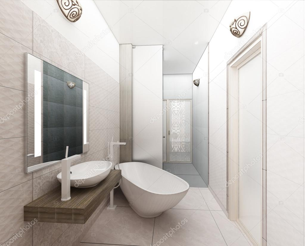 rendering 3D of a modern bathroom interior design — Stock Photo ...