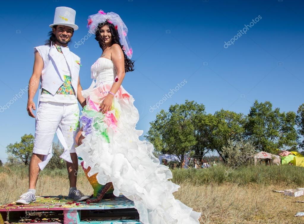 Young newlyweds enjoying romantic moment together at wedding ...