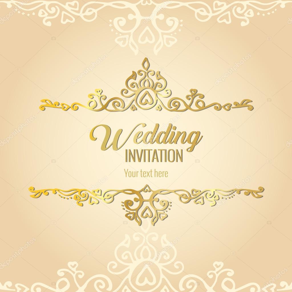 Wonderbaarlijk Gouden bruiloft uitnodiging — Stockvector © Elentina #115594574 HC-66