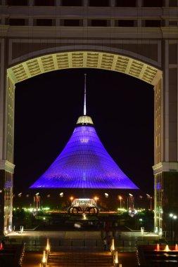 KHAN SHATYR shopping and entertainment centre in Astana, Kazakhstan, at night