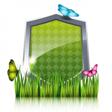 Green shield with flying butterflies by the grass.
