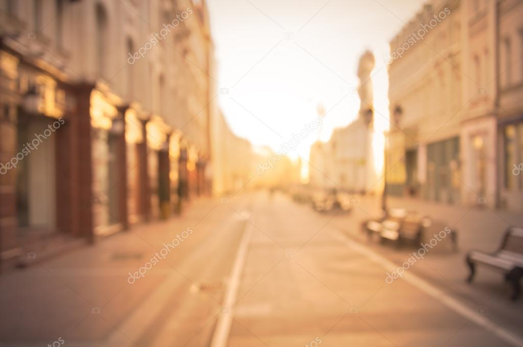 Beautiful city street background at sunrise time.