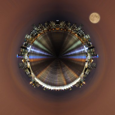 little planet - urban spherical panorama of Vancouver city.