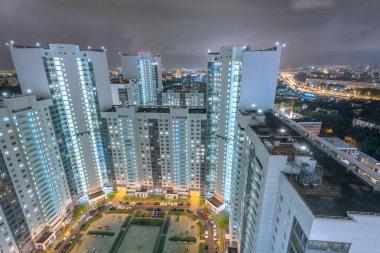 Apartment buildings.