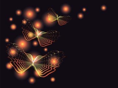 Flying orange butterflies in the darkness.