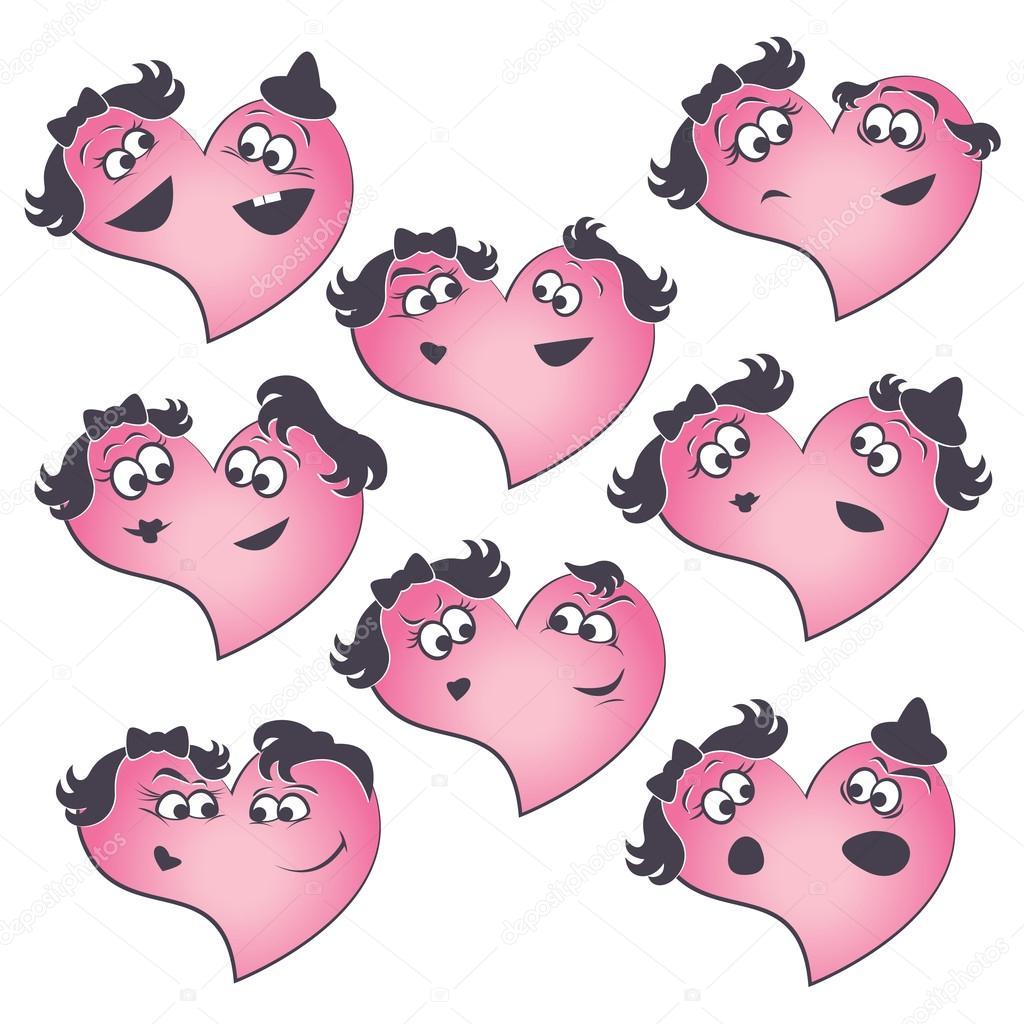 Sammlung des Herzens Formen mit verschiedenen ihre Teile Gesichts ...