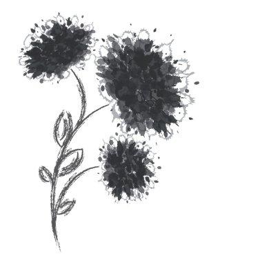 Three flower shapes on white background.