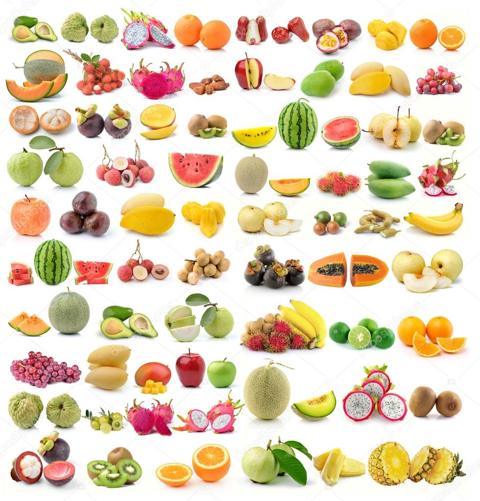 set of fruit on white background