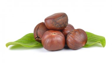 chestnuts on white background