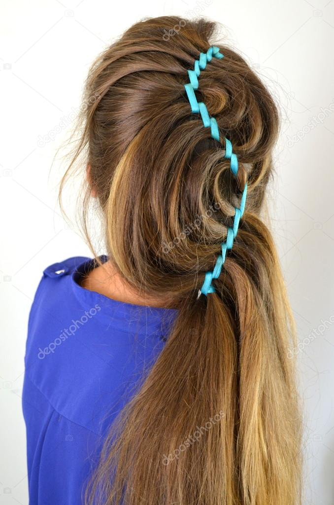 Hollywood Wave Hair Weave With Blue Ribbon Stock Photo Yuliyam
