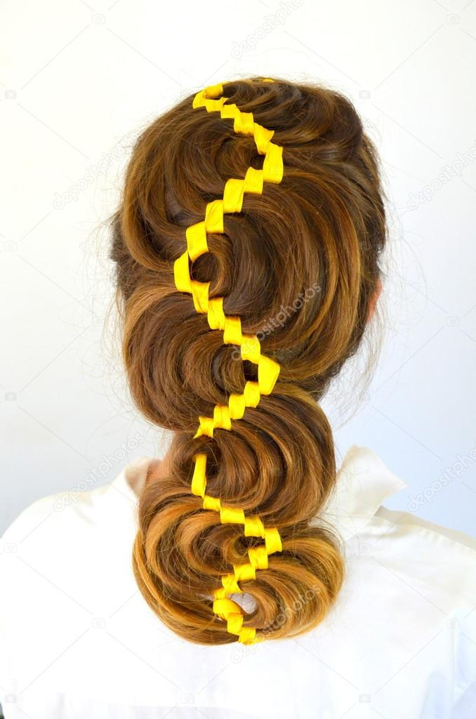 Hollywood Wave Hair Weave With Yellow Ribbon Stock Photo