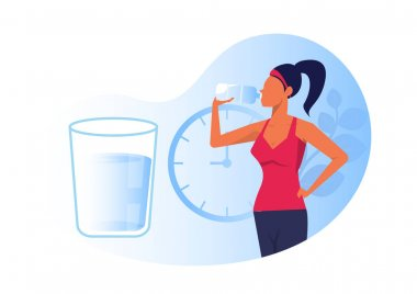 Woman drinking clear water from a bottle healthy concept flag vector isolated illustration icon