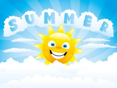Cheerful sun and clouds.