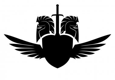 Spartan helmet, shield, sword and wings.
