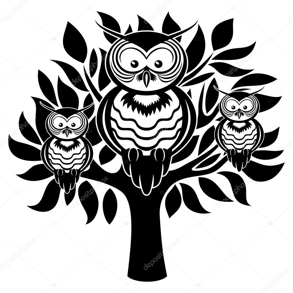 Owls on the tree.