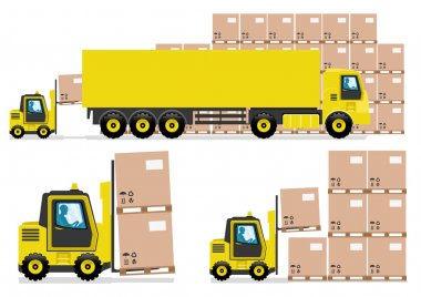 Vector set of trucking industry isolated on white background. stock vector