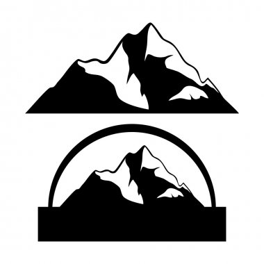 Mountain top icons isolated on white background for design. stock vector
