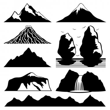 Mountain icons on white.