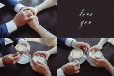 Couple in love holding hands in a cafe. woman and man drinking coffee and gently hold hands. top view stock vector