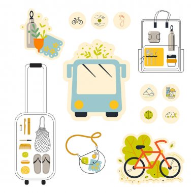 A set of vector clipart on the theme of a zero waste lifestyle on and travels. icon