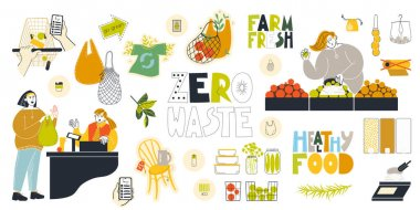 Set of vector clipart on the theme of a zero waste lifestyle at the market. icon