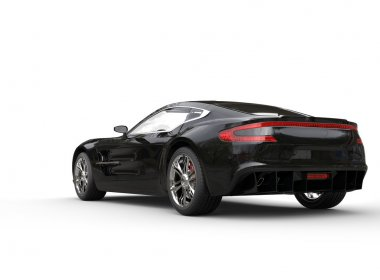 Black luxury sports car on white background - back - side view