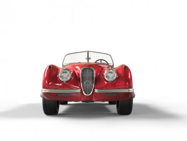 Red vintage car on white background - front view